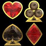 Procès en forme de diamant de carte avec l'encadrement d'or illustration de vecteur