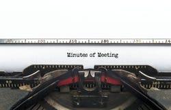 Procès-verbal d'une séance Photographie stock