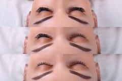 Procédure d'extension de cil Comparaison des yeux femelles avant et après Images libres de droits