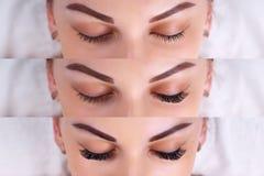 Procédure d'extension de cil Comparaison des yeux femelles avant et après Photo stock