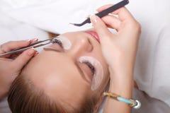 Procédure d'extension de cil Oeil de femme avec de longs cils Mèches, fin, foyer sélectionné Photos stock