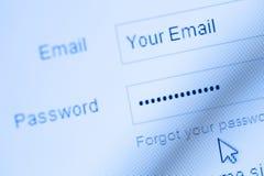 Procédure de connexion avec l'email et le mot de passe Photo stock