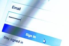 Procédure de connexion avec l'email et le mot de passe Photographie stock libre de droits