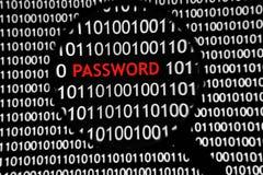Procédure de connexion de code binaire - mot de passe Image stock