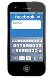 Procédure de connexion de Facebook sur l'iphone de pomme Photographie stock libre de droits