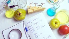 Procédure de laboratoire de sécurité alimentaire, analysant des fruits du marché Carnet et stylo bleu sur la table de laboratoire photo libre de droits