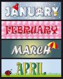Procedere aprile gennaio di febbraio Fotografia Stock Libera da Diritti
