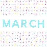 procedere Modello astratto scritto a mano con la citazione del marzo royalty illustrazione gratis