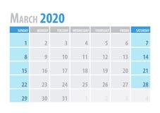 procedere Pianificatore 2020 del calendario nello stile semplice della tavola minima pulita Illustrazione di vettore royalty illustrazione gratis