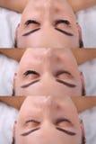 Procedimento da extensão da pestana Comparação dos olhos fêmeas antes e depois Fotos de Stock Royalty Free