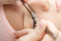 Procedimento da extensão da pestana Olho da mulher com pestanas longas imagem de stock royalty free