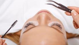 Procedimento da extensão da pestana Olho da mulher com pestanas longas Chicotes, fim acima, foco selecionado imagens de stock royalty free