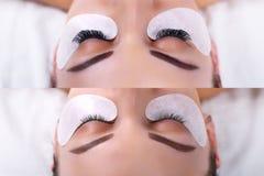 Procedimento da extensão da pestana Olhos fêmeas antes e depois Imagem de Stock Royalty Free