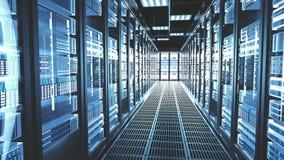 Procedimento das cremalheiras dos servidores na sala de computação do datacenter da nuvem moderna do centro de dados ilustração stock