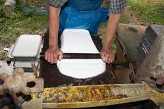 Procedimento del latice di gomma per la produzione dello strato di gomma Fotografia Stock Libera da Diritti