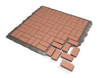 Procedura che pavimenta pietra rossa Fotografie Stock Libere da Diritti