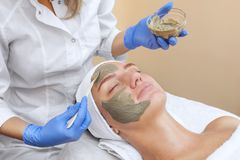 The procedure for applying a mask from clay to the face of a beautiful woman. Spa treatments and care of the cats in the beauty salon Royalty Free Stock Photography