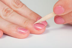 Procedure for Nail Care - Cuticle removal Stock Photography