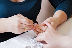 Procedure For Nail Care - Cuticle Removal Stock Photo