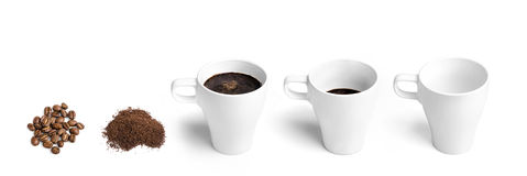 Procedure of preparing and drinking coffee Stock Image