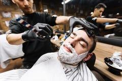Procedure of shaving Stock Photo