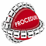 Procedure System Process Method Arrow Boxes Steps Around Sphere. Procedure word on red sphere with arrow boxes encircling it to represent a system, process or Stock Photo