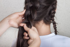 Procedure weave braid. Procedure of weave braid tutorial Stock Images