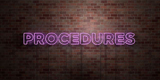 PROCEDURES - fluorescent Neon tube Sign on brickwork - Front view - 3D rendered royalty free stock picture Royalty Free Stock Photos