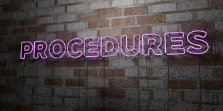 PROCEDURES - Glowing Neon Sign on stonework wall - 3D rendered royalty free stock illustration Royalty Free Stock Images