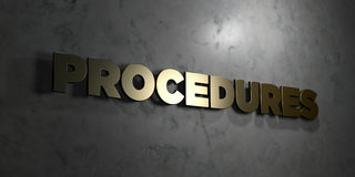 Procedures - Gold text on black background - 3D rendered royalty free stock picture Stock Image