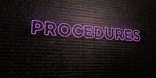 PROCEDURES -Realistic Neon Sign on Brick Wall background - 3D rendered royalty free stock image Royalty Free Stock Photos