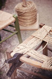 Proceedings ancient craft artisan to straw chairs Royalty Free Stock Photography