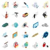 Proceedings icons set, isometric style Stock Photos