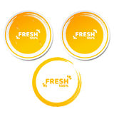 100 procentów świeży produkt Set pomarańczowi majchery w 3d stylu Płynąć krople woda Grunge styl świeże sok pomarańczowy Ecologic Zdjęcia Stock