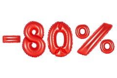 80 procentów, czerwony kolor Zdjęcia Royalty Free