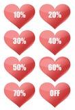 Procentów dyskontowi serca Zdjęcia Stock