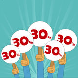 30 procentów dyskontowy sztandar Zdjęcie Stock