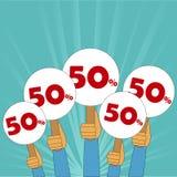 50 procentów dyskontowy sztandar Obraz Stock