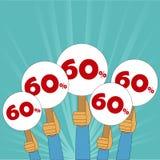 60 procentów dyskontowy sztandar Zdjęcia Stock