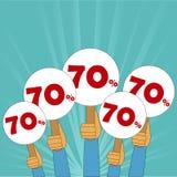 70 procentów dyskontowy sztandar Fotografia Royalty Free