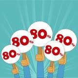 80 procentów dyskontowy sztandar Fotografia Stock