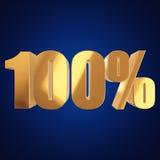 100 procentów na błękitnym tle Obraz Royalty Free