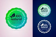 100 procentów naturalnej poświadczającej produkt round odznaki ilustracja wektor