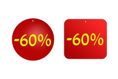 60 procentów od czerwonych majcherów na białym tle Rabaty i sprzedaże Fotografia Royalty Free