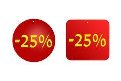 25 procentów od czerwonych majcherów na białym tle rabaty, sprzedaże, wakacje i edukacja, Zdjęcia Stock