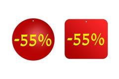 55 procentów od czerwonych majcherów na białym tle rabaty, sprzedaże, wakacje i edukacja, Zdjęcia Stock