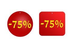 75 procentów od czerwonych majcherów na białym tle rabaty, sprzedaże, wakacje i edukacja, ilustracja wektor
