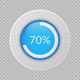 70 procentów pasztetowa mapa na przejrzystym tle Odsetka wektorowy ifographic znak Okrąża ikonę dla biznesu, finansuje, projektuj Obraz Royalty Free
