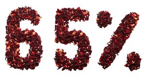 65 procentów poślubnik herbata na białym tle odizolowywającym Fotografia Royalty Free