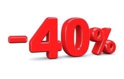 40 procentów z rabata znaka Czerwony tekst odizolowywa na bielu Obrazy Royalty Free